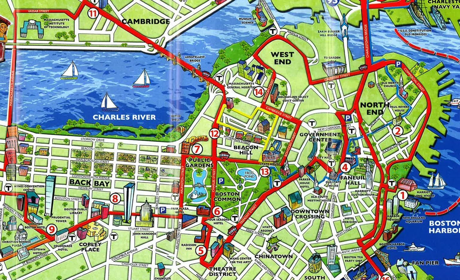 Boston Attraktioner Kort Kort Over Turistattraktioner I Boston Usa