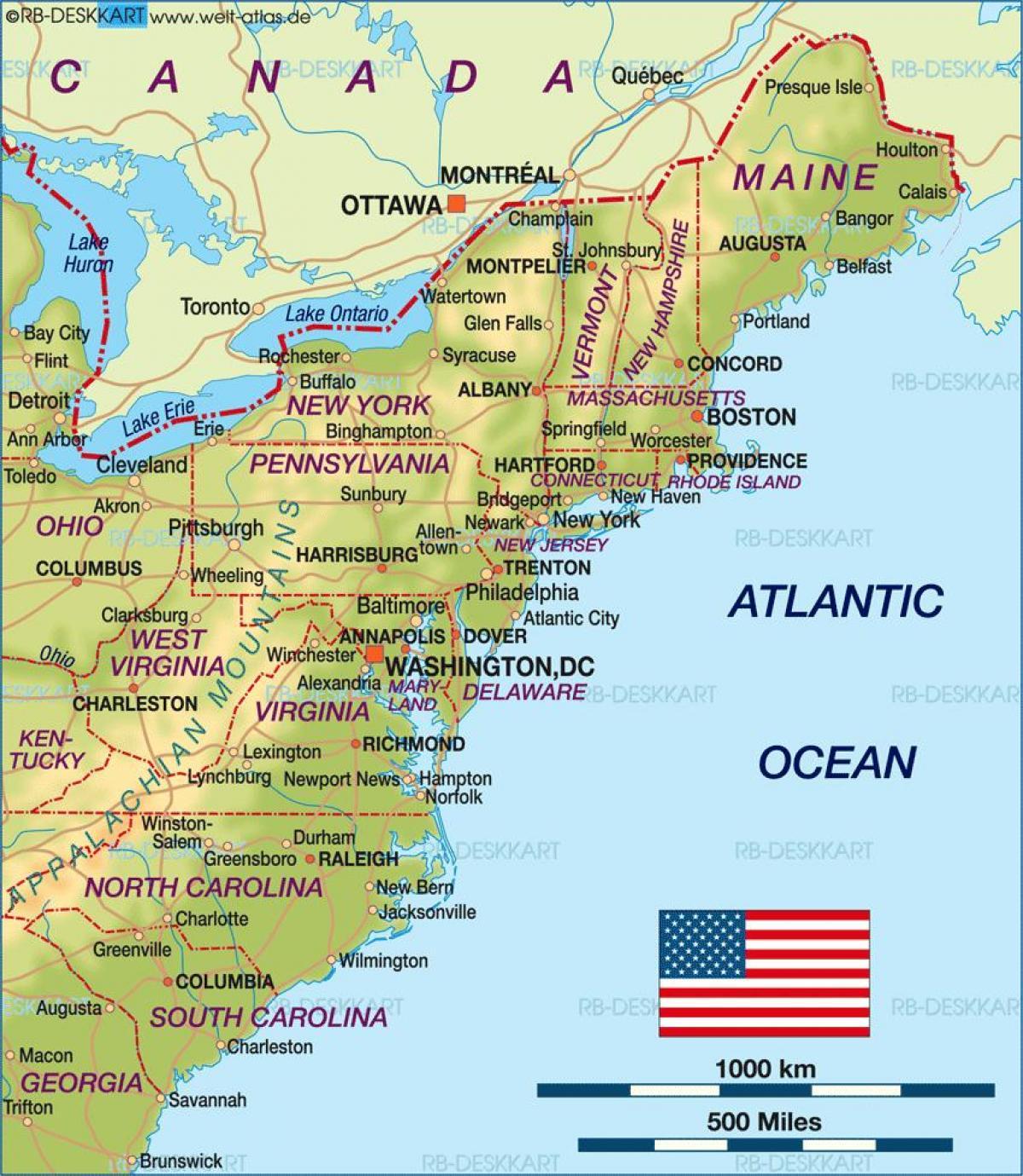 Boston Amerikas Forenede Stater Kort Boston Pa Usa Kort Usa